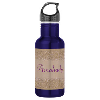 Beige Floral Stainless Steel Water Bottle