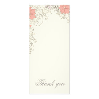 Beige floral Thank you card Full Color Rack Card