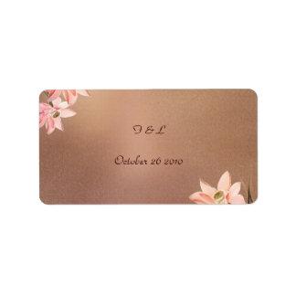 Beige Floral Wedding Label Address Label