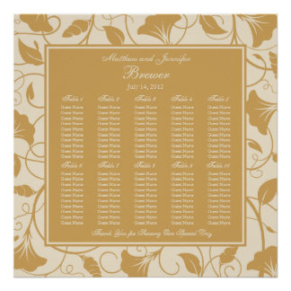 Beige Floral Wedding Reception Seating Chart