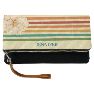 Beige Flowers And Stripes Clutch