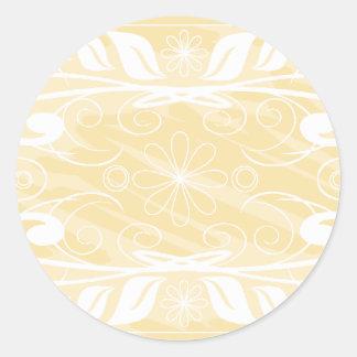 beige flowers classic round sticker
