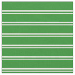 [ Thumbnail: Beige & Forest Green Colored Stripes Fabric ]