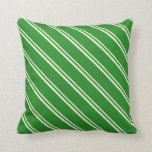 [ Thumbnail: Beige & Forest Green Colored Stripes Throw Pillow ]