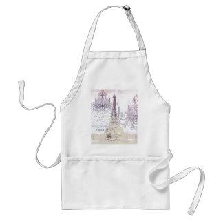 beige french scripts chandelier paris eiffel tower adult apron