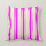 [ Thumbnail: Beige & Fuchsia Lined Pattern Throw Pillow ]