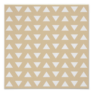 Beige Geometric Pattern with Triangles. Poster