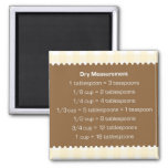 Beige gingham dry measure chart kitchen helper 2 inch square magnet
