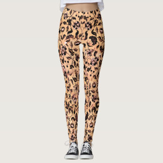 Beige Girly Floral Pattern Leggings