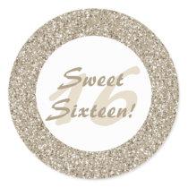 Beige Glitter Pattern Look-like Sweet Sixteen Classic Round Sticker