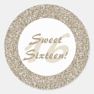 Beige Glitter Pattern Sweet Sixteen Classic Round Sticker