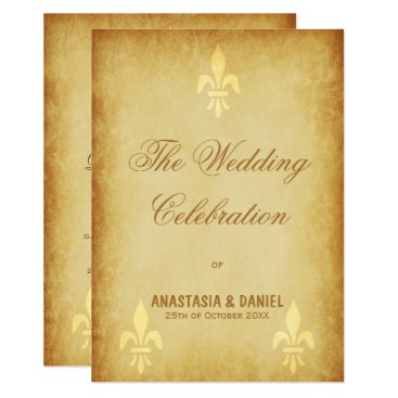 invitations_kits Beige gold de luxe French style fleur de lis Card