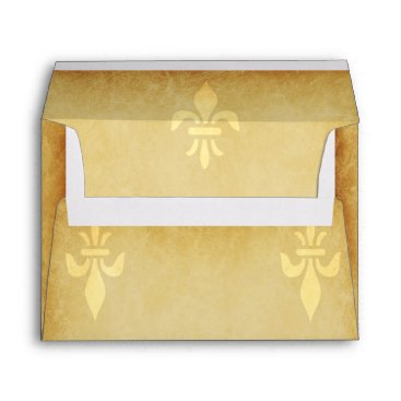 invitations_kits Beige gold de luxe French style fleur de lis Envelope