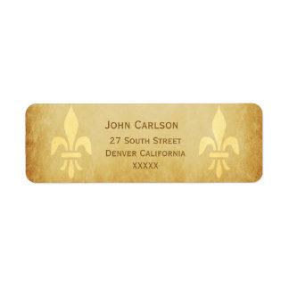 Beige gold de luxe French style fleur de lis Label
