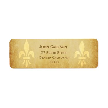 invitations_kits Beige gold de luxe French style fleur de lis Label