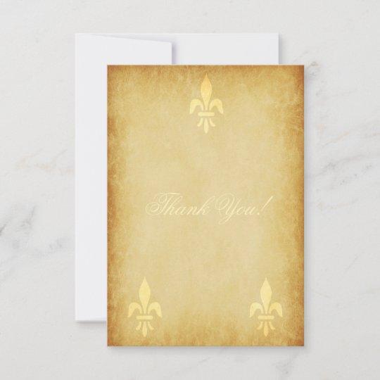 Beige Gold De Luxe French Style Fleur De Lis Thank You Card Zazzle Com