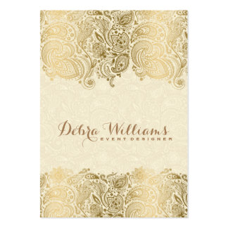 Beige & Gold Floral Paisley Lace Large Business Card