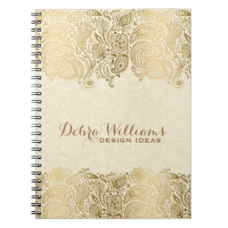 Beige & Gold Floral Paisley Lace Spiral Notebook