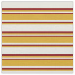 [ Thumbnail: Beige, Goldenrod & Maroon Colored Stripes Fabric ]