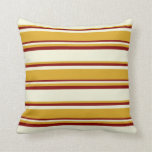 [ Thumbnail: Beige, Goldenrod & Maroon Colored Stripes Pillow ]