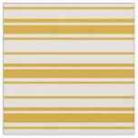 [ Thumbnail: Beige & Goldenrod Striped Pattern Fabric ]