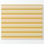 [ Thumbnail: Beige & Goldenrod Striped Pattern Wrapping Paper ]