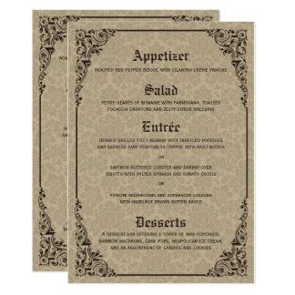 Beige Gothic Victorian Damask Wedding Menu Cards