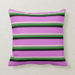 [ Thumbnail: Beige, Gray, Forest Green, Black, and Orchid Throw Pillow ]