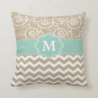 Beige Green Chevron Monogram Throw Pillows