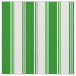 [ Thumbnail: Beige & Green Colored Lined Pattern Fabric ]