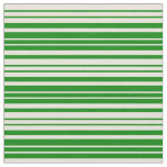 [ Thumbnail: Beige & Green Colored Lined/Striped Pattern Fabric ]