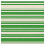 [ Thumbnail: Beige & Green Colored Lines Fabric ]