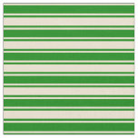 [ Thumbnail: Beige & Green Colored Stripes Pattern Fabric ]