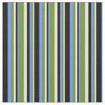 [ Thumbnail: Beige, Green, Cornflower Blue, and Black Colored Fabric ]
