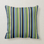 [ Thumbnail: Beige, Green, Cornflower Blue, and Black Colored Throw Pillow ]