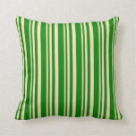 [ Thumbnail: Beige & Green Lines Throw Pillow ]