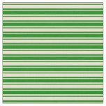 [ Thumbnail: Beige & Green Stripes Fabric ]