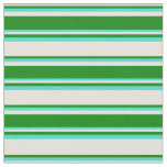 [ Thumbnail: Beige, Green & Turquoise Colored Lines Fabric ]