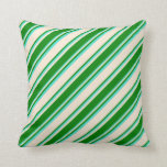 [ Thumbnail: Beige, Green & Turquoise Colored Lines Pillow ]