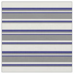 [ Thumbnail: Beige, Grey, and Midnight Blue Lines Fabric ]