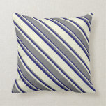 [ Thumbnail: Beige, Grey, and Midnight Blue Lines Throw Pillow ]