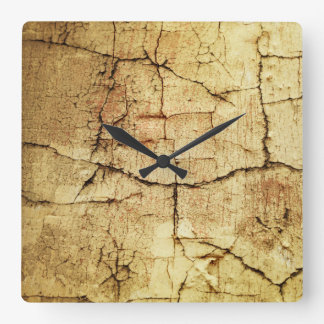 Beige Grunge-Style Square Wall Clock
