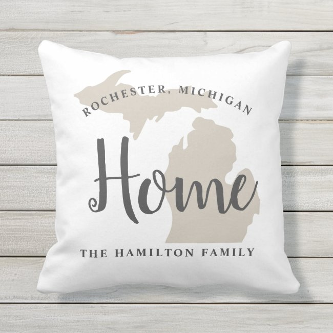 Beige Home State of Michigan | Family Monogram Throw Pillow