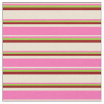 [ Thumbnail: Beige, Hot Pink, Green & Dark Red Stripes Fabric ]