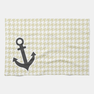 Beige Houndstooth; Anchor Hand Towels