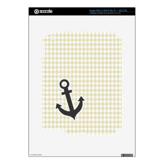 Beige Houndstooth Anchor Decal For iPad 3