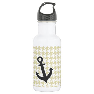 Beige Houndstooth; Anchor Water Bottle
