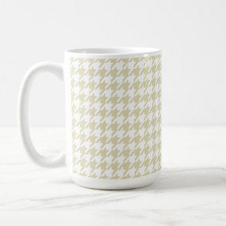 Beige Houndstooth Classic White Coffee Mug