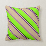 [ Thumbnail: Beige, Indigo, Tan, Chartreuse, and Black Pattern Throw Pillow ]