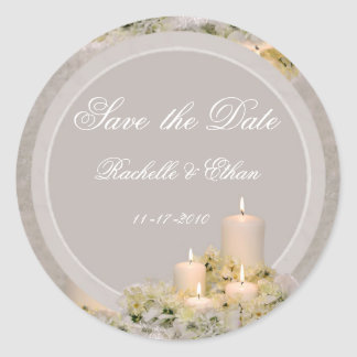 Beige & Ivory Candle Flower Save the Date Wedding Classic Round Sticker